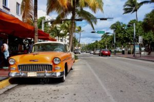 yellow car in the streets of Miami
