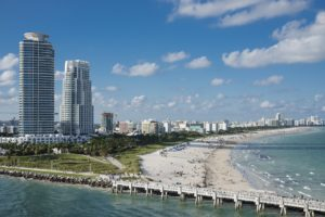 A view of the skyscrapers and the beach in Miami Beach