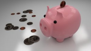 Pink piggy bank for saving money.