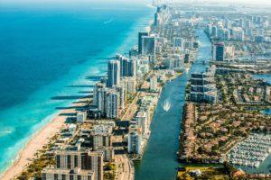 Skyscrapers on the seashore of Miami