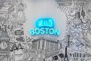 Hello Boston written in neon