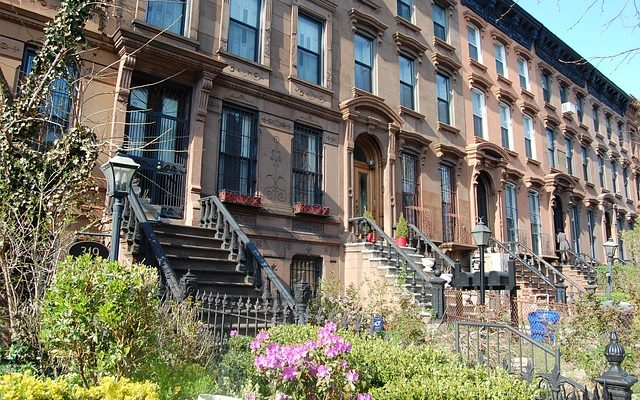 Brownstone buildings in Park Slope