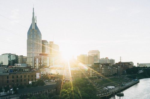 Nashville skyline, in the sunset