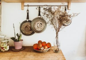 Pans hanging on the kitchen wall