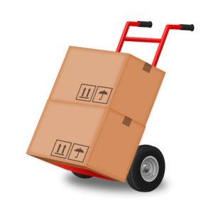 A box on a hand trolley.