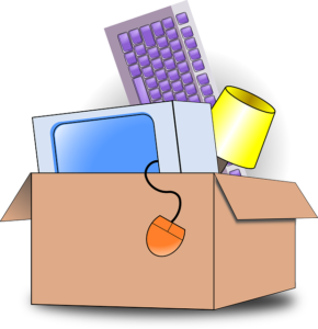 A moving box with electronics