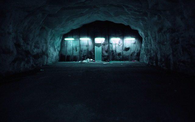 dark blue bunker, moving a basement