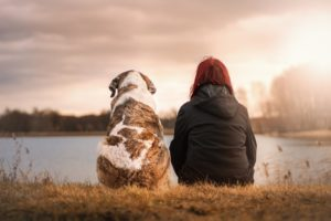 A woman sitting by a lake alone with her dog.