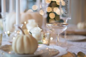 Holiday table with glassware and china