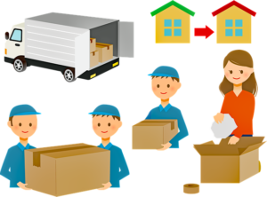 Drawing of a moving truck, movers with boxes, draving of shiping line between 2 houses and a mover delivering a box to satissfied owner