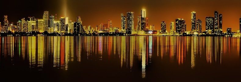 The City of Miami during night time.