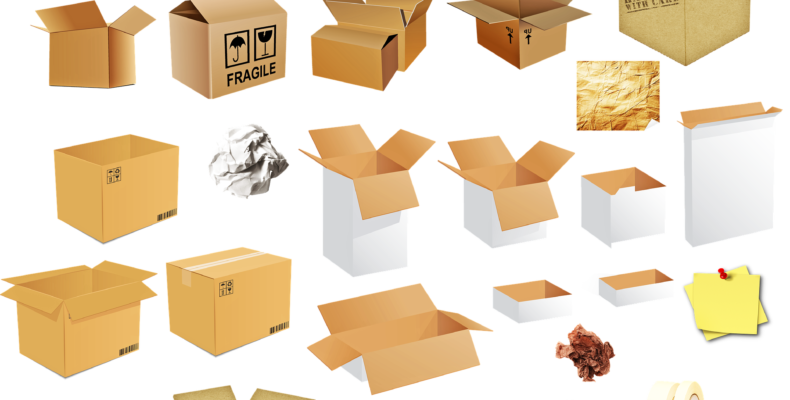 Various types of moving boxes.