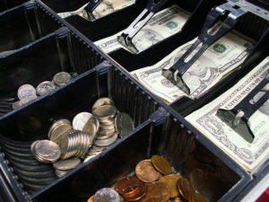 Cash in a register.