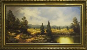 A painting with a decorative frame.