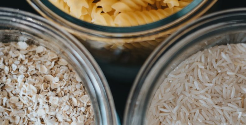 jars with pasta and rice