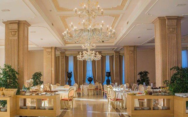 Inside of a luxury restaurant.