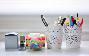 organized craft supplies on a table