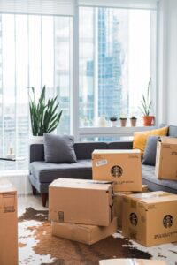 Packed boxes in a living room