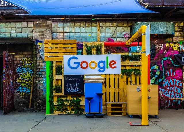 Google sign on a street
