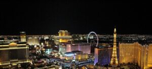 City view during the night in Las Vegas.