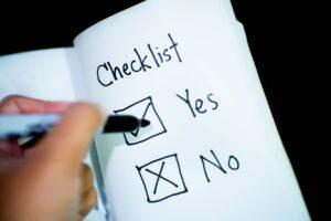 A yes no checklist.