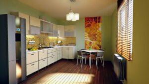 A kitchen space.