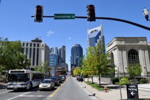 Cars on the boulevard of Nashville city.