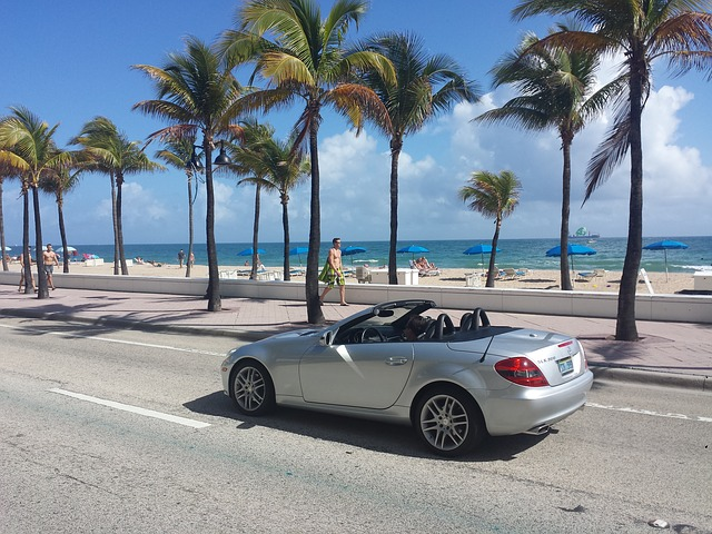 A beach road with a convertible overlooking a palm beach