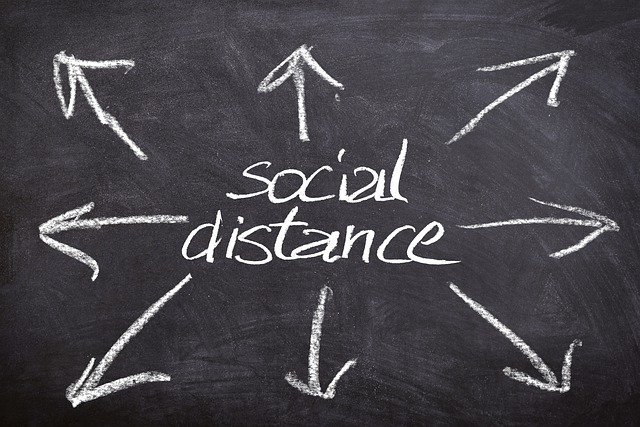 """A chalk-written sign with arrows saying """"social distancing"""""""