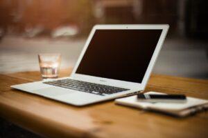 A laptop on the desk.