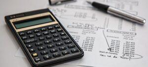 Calculator on white paper