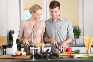 A couple cooking